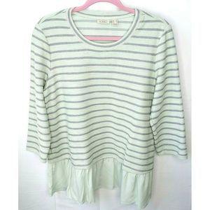 LOGO Lori Goldstein Mint Green Stripe Cotton Top